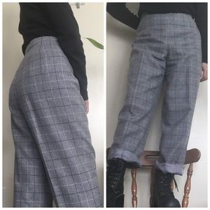 📌 Gray Grid Wool Dress Pants